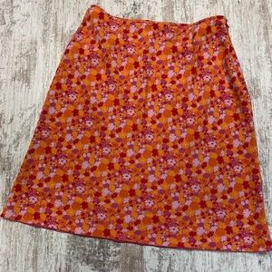 Express orange and pink floral print long skirt
